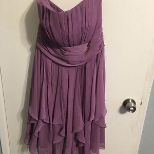 David's bridal light purple ruffle dress, sz 12